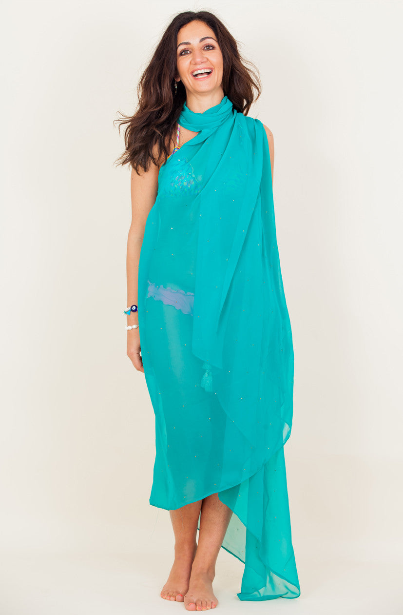 Badla Embellished Georgette Cover Up - Teal (Adults)