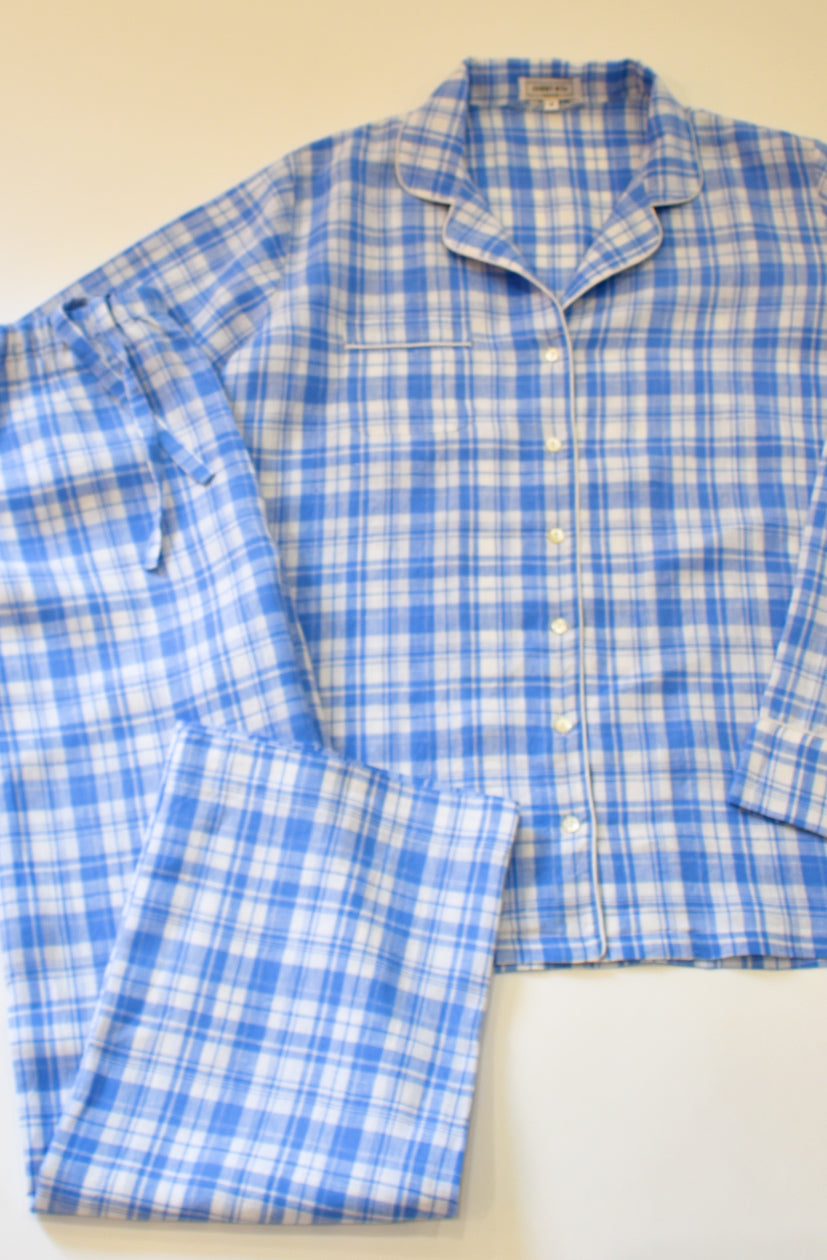 Italian Linen Blue Plaid Pajama set with mother of pearl buttons, cord piping and bias bound seamwork.