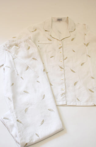 white linen pajama set with silver fether embroide