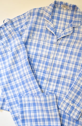 Blue Plaid Pajama set made from Italian linen