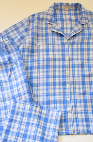 Blue Plaid Linen Pajamas