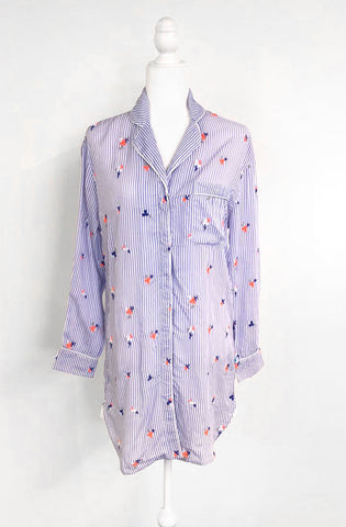 blue and white stripe nightshirt with neon embroidered flowers