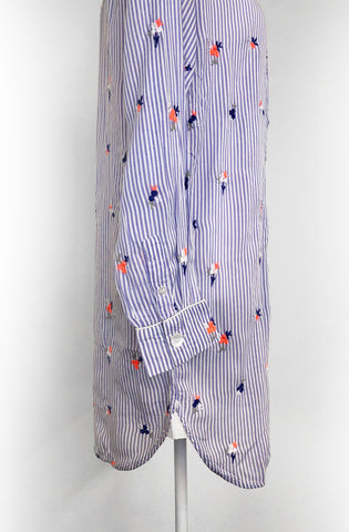 rayon nightshirt in blue and white stripes with neon embroidered flowers