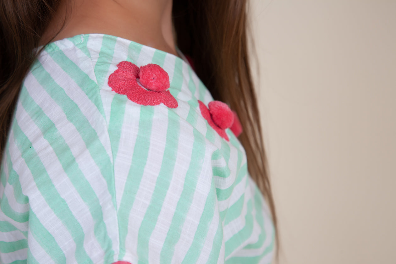 Flower cover up in mint stripes (Kids)