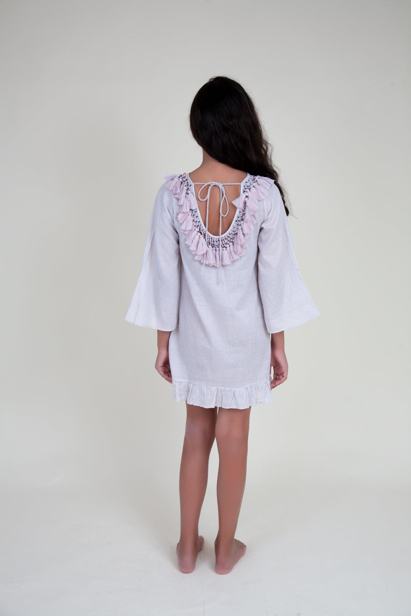 Hand block printed dress with pastel tassels (Kids)