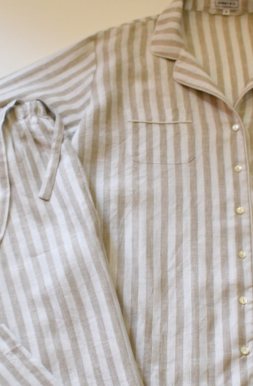 Oatmeal and white stripe linen pajamas