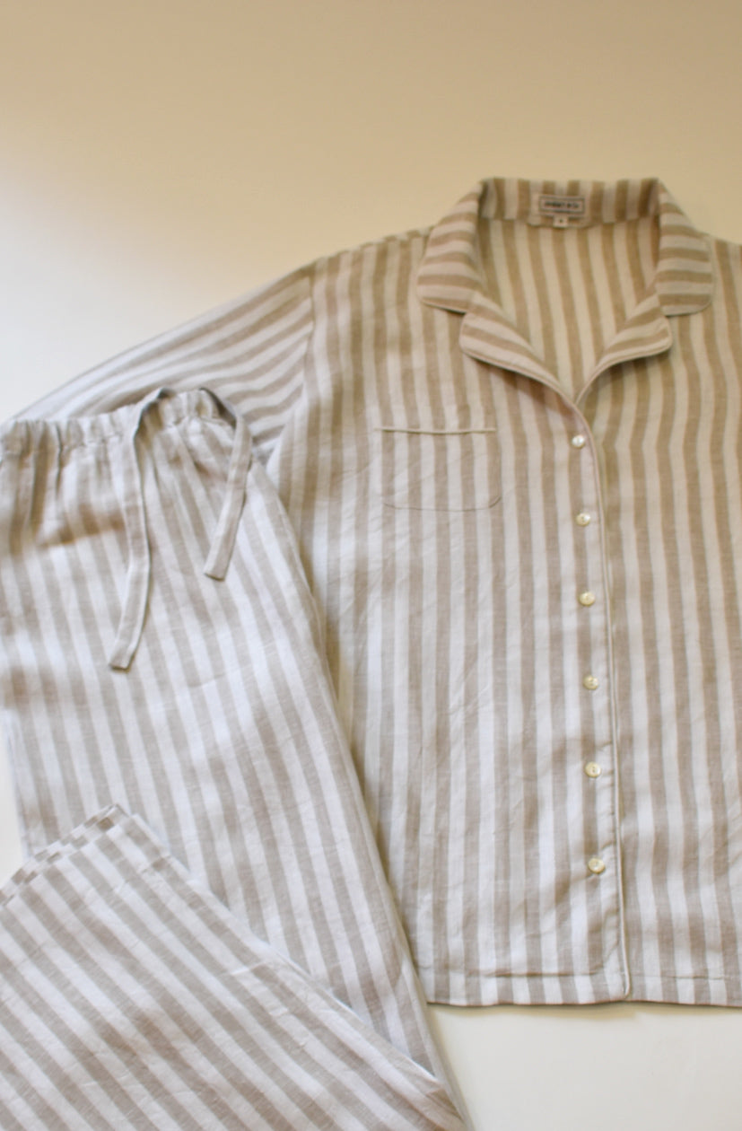 Beige and white stripe linen pajama set