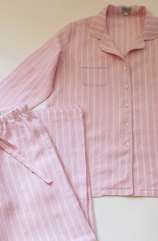 Linen Pajama set with pink and white vertical stripes, classic relaxed style.