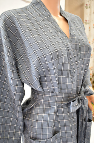 Linen Robe Grey Plaid
