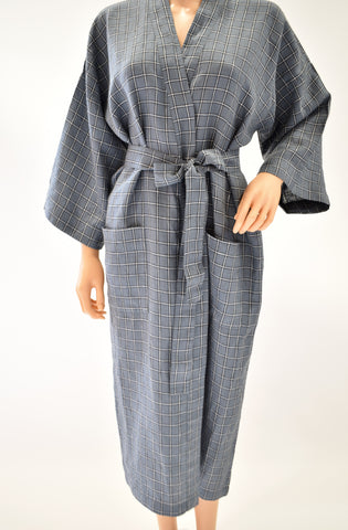 Window pane plaid grey linen robe