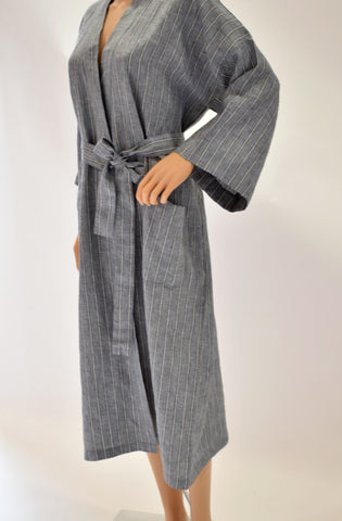 Grey Striped Linen Robe