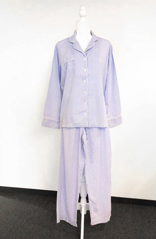 Bamboo Cotton Pajama set in blue and white stripe