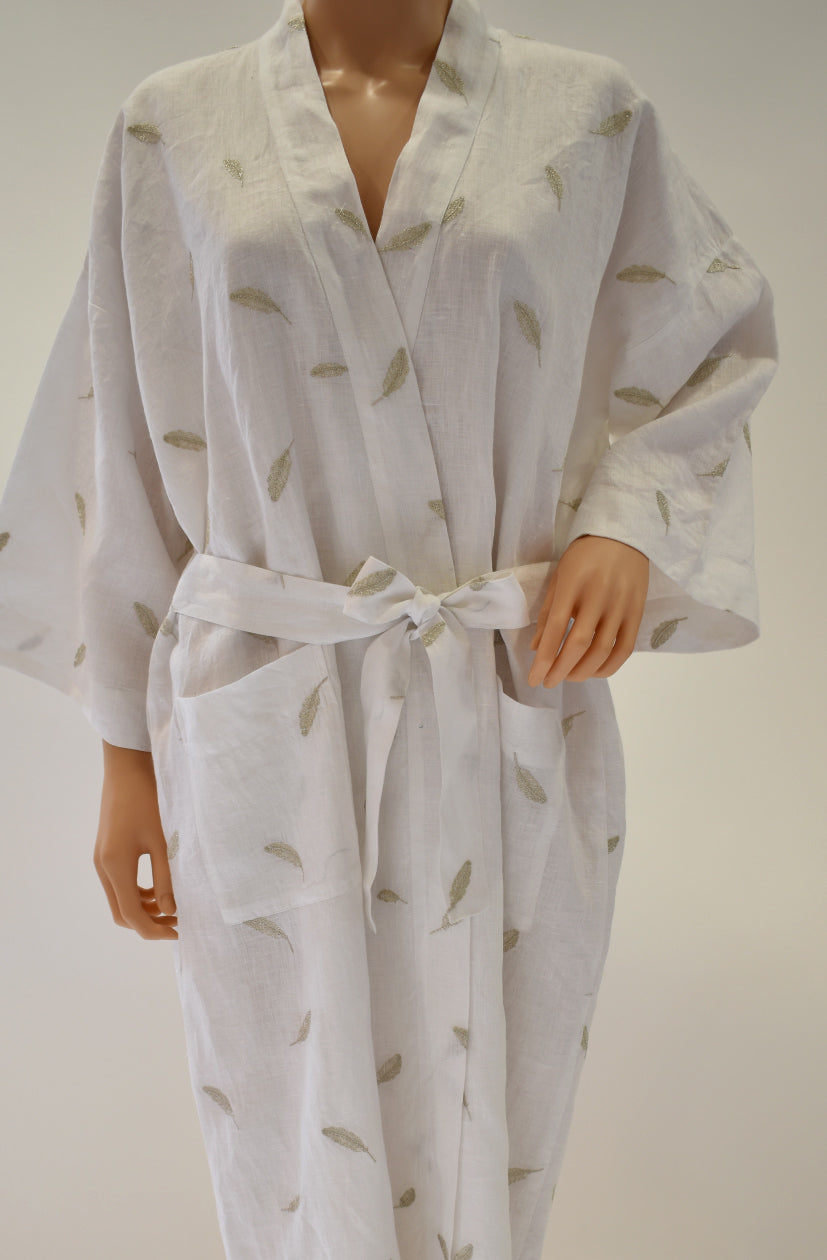 Linen White Robe with silver feather embroidery