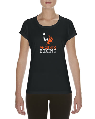 WOMEN'S PHOENIX BOXING  PERFORMANCE T-SHIRT - BLACK