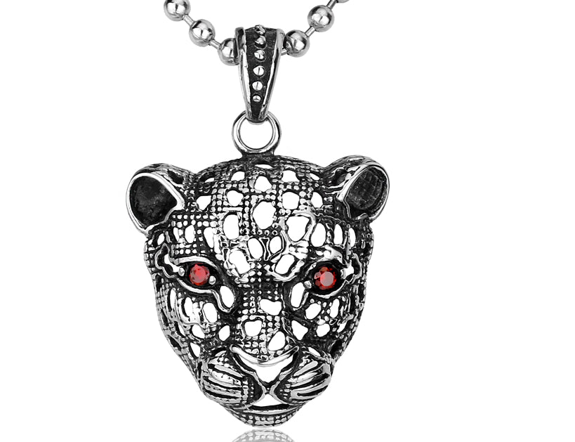 Red Eye Leopard Mask Pendant Necklace