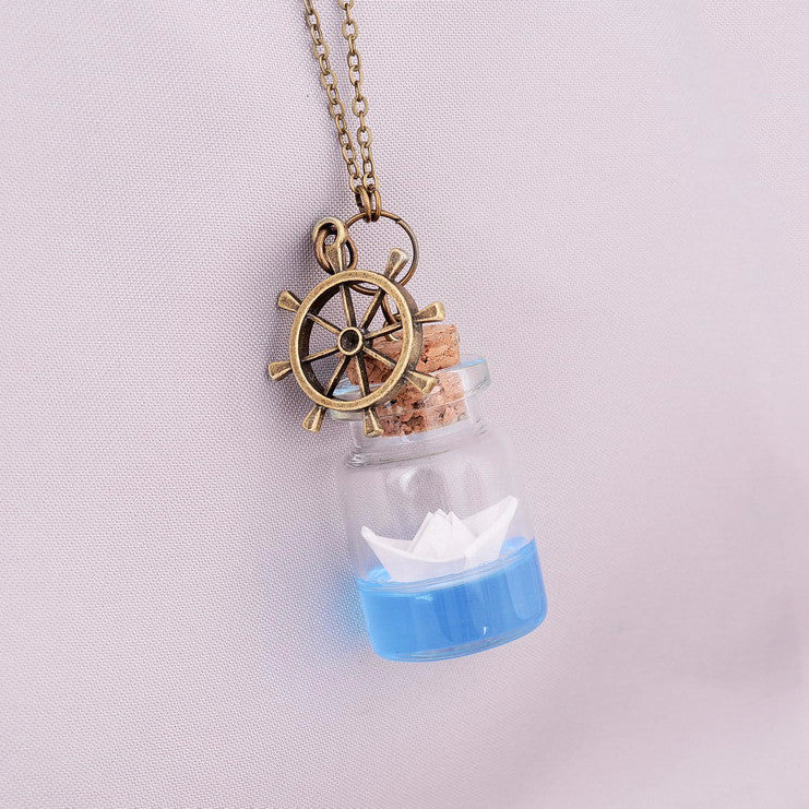 Anchor Bottle Origami Boat Necklace
