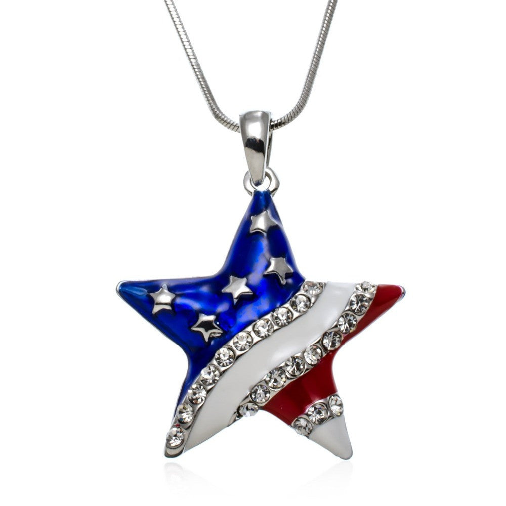 USA American Flag Star Shaped Pendant Necklace