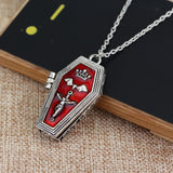 Gothic Red Enameled Vampire Coffin Necklace