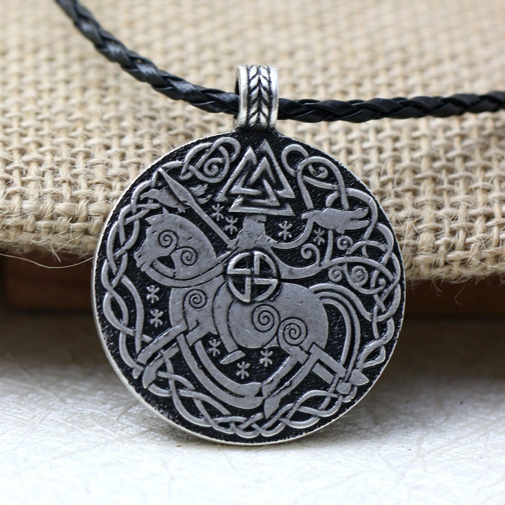 Norse Vikings Legendary Sleipnir And Solider Valknut Raven Talisman Amulet Necklace