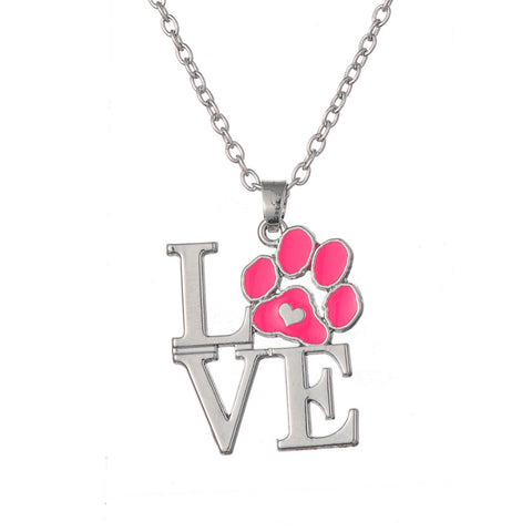 Animal Pet Paw Print Heart Pendant Necklace