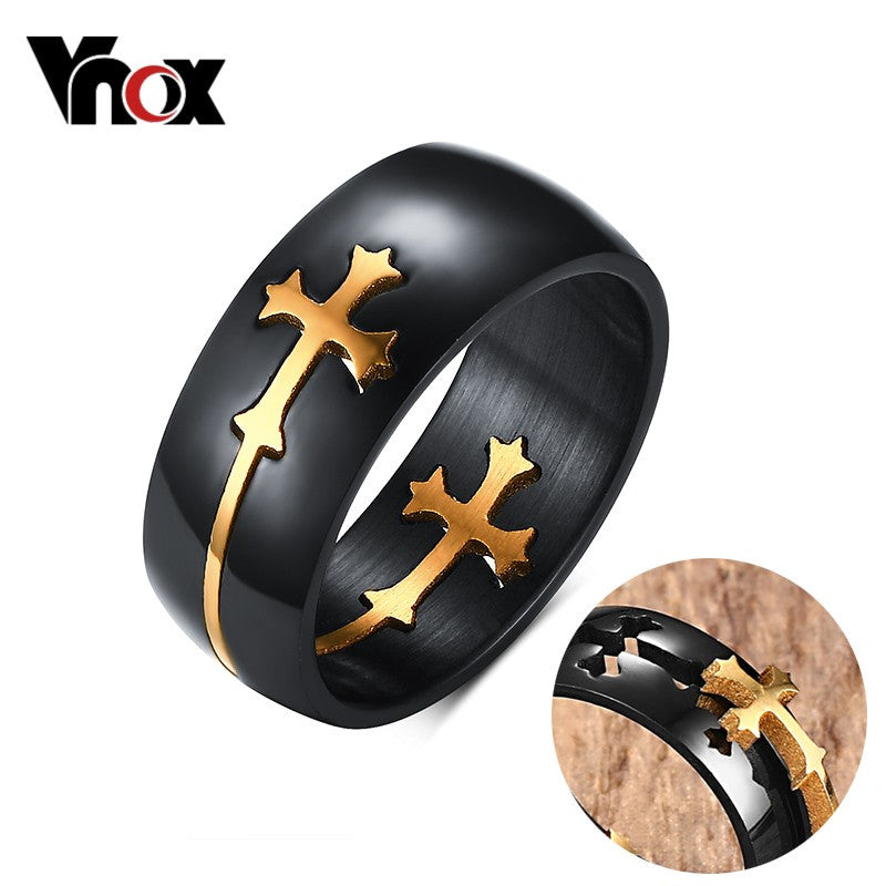 Black and Gold/Silver Cross Ring