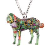 Bonsny Saint Bernard Pendant Necklace