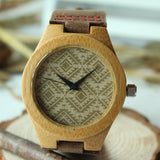 Bamboo Wooden Wristwatch With Genuine Cowhide Leather Band
