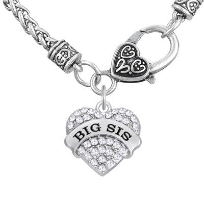 Big Sister Crystal Heart Pendant Necklace