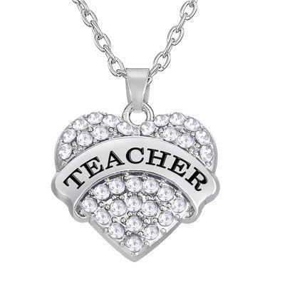Heart Teacher Pendant Necklace