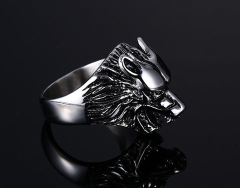 Wolf Head Ring (Stainless Steel)