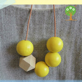 Hand Painted Geometric Beaded Wood Necklace
