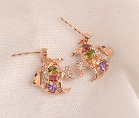 Crystal Fish Earrings (18k Rose Gold Plated)