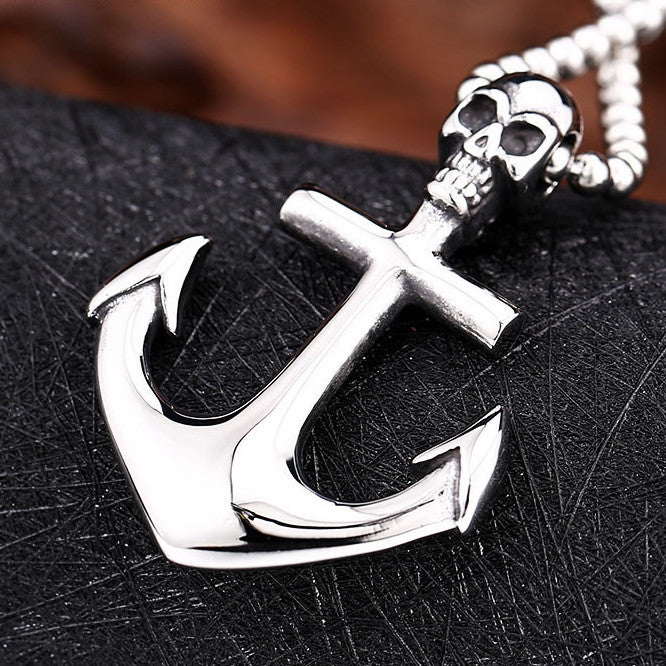 Anchor Skull Pendant Necklace