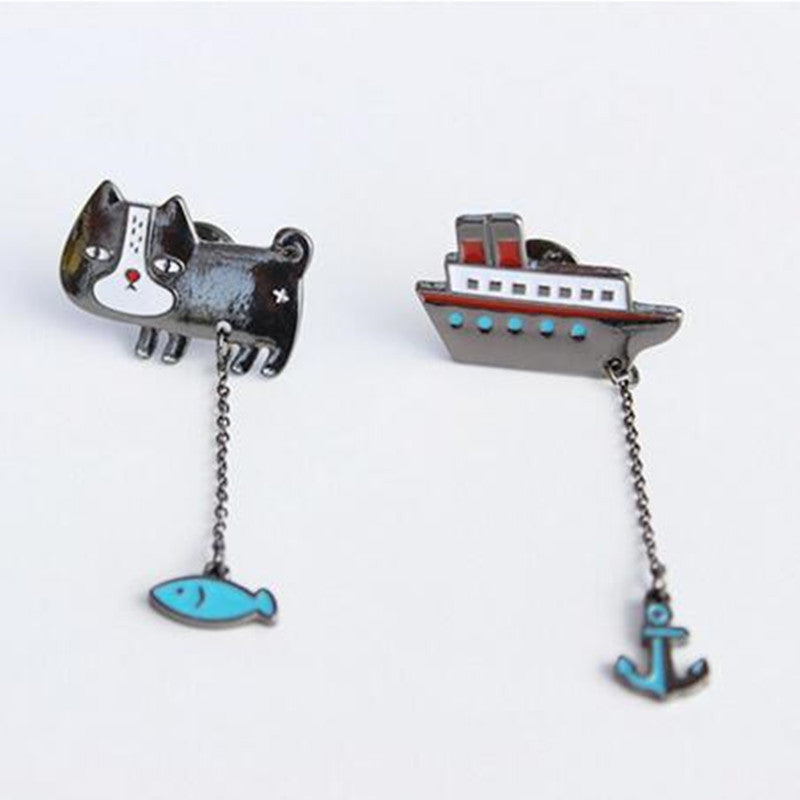 Cat With Fish Boat Anchor Collar Clip Buckle Brooch