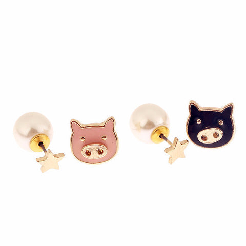Cute Pig Stud Combination Earrings