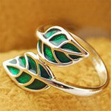 Double Green Leaf Leaves Ring