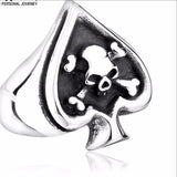 Card Cross Skull Domineering Retro Ring