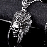 Beier Tribal Chief Skull Pendant Necklace