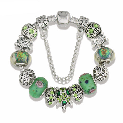 Green Sea Turtles Charm Bracelet