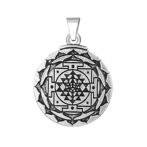 Chakra 3D Eye Hindu Goddess Yoga Sri Yantra Wicca Wealth Pendant