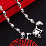 Bone Tri Skulls Necklace