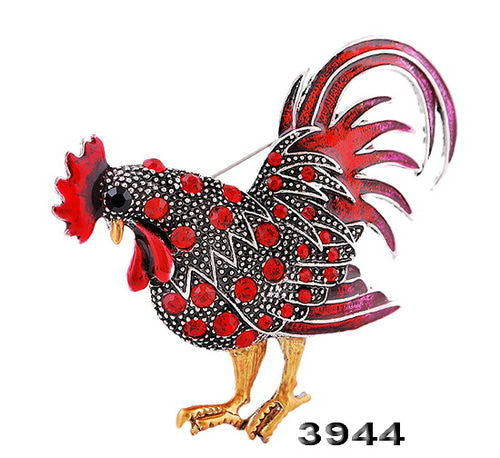 Purple Rooster Brooch Pin