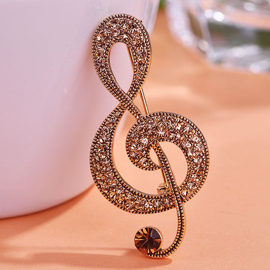Vintage Music Note Brooch Pin