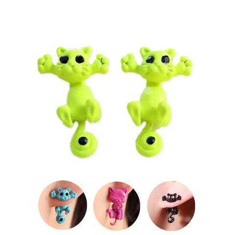 Pameng Bijoux 3D Black Eye Small Cat Stud Earrings
