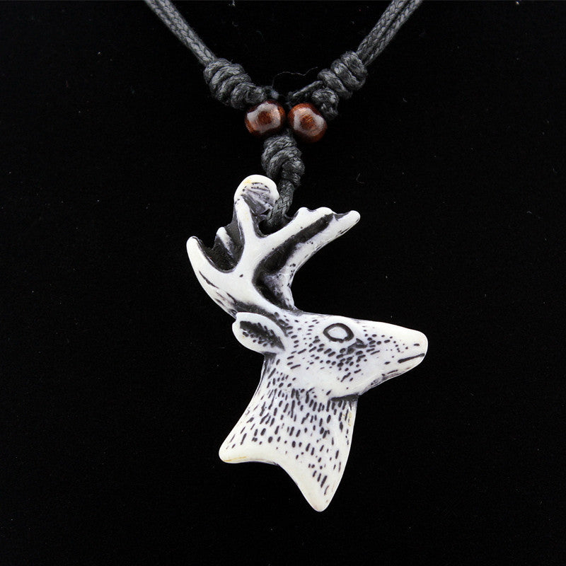 Pameng Deer Heads Pendant Necklace