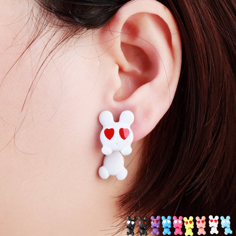 Pameng White Rabbit Stud Earrings