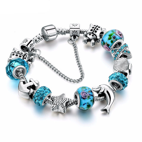 Blue Glass Charm Dolphin Bracelet
