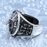 Cross Side Lion Head Ring