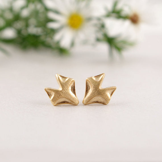 Gold Plated Fox Stud Earrings