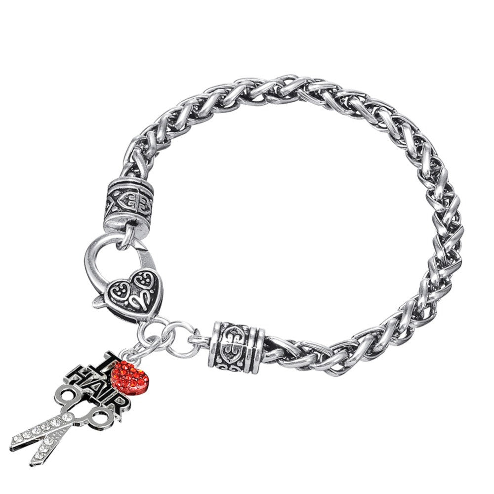 I Love Hair Scissor Heart Bracelet